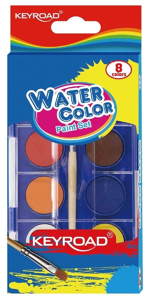 Farby akwarelowe KEYROAD z pędzelkiem 8 kolorów