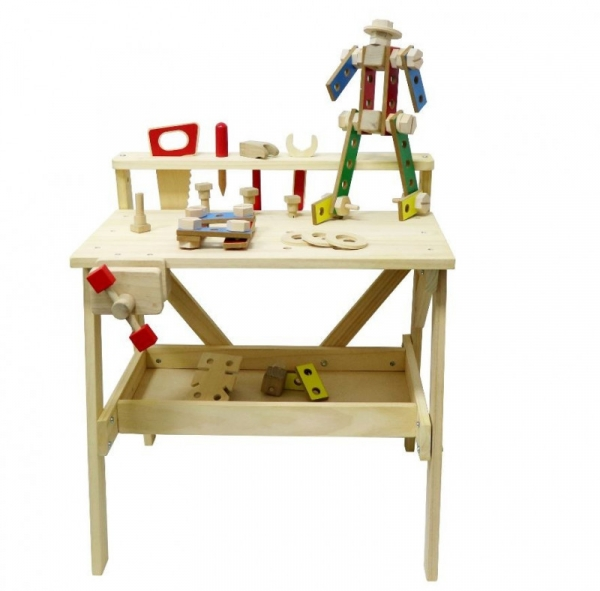 Drewniany warsztat mechanika z narzędziami i klockami (ZY2369)