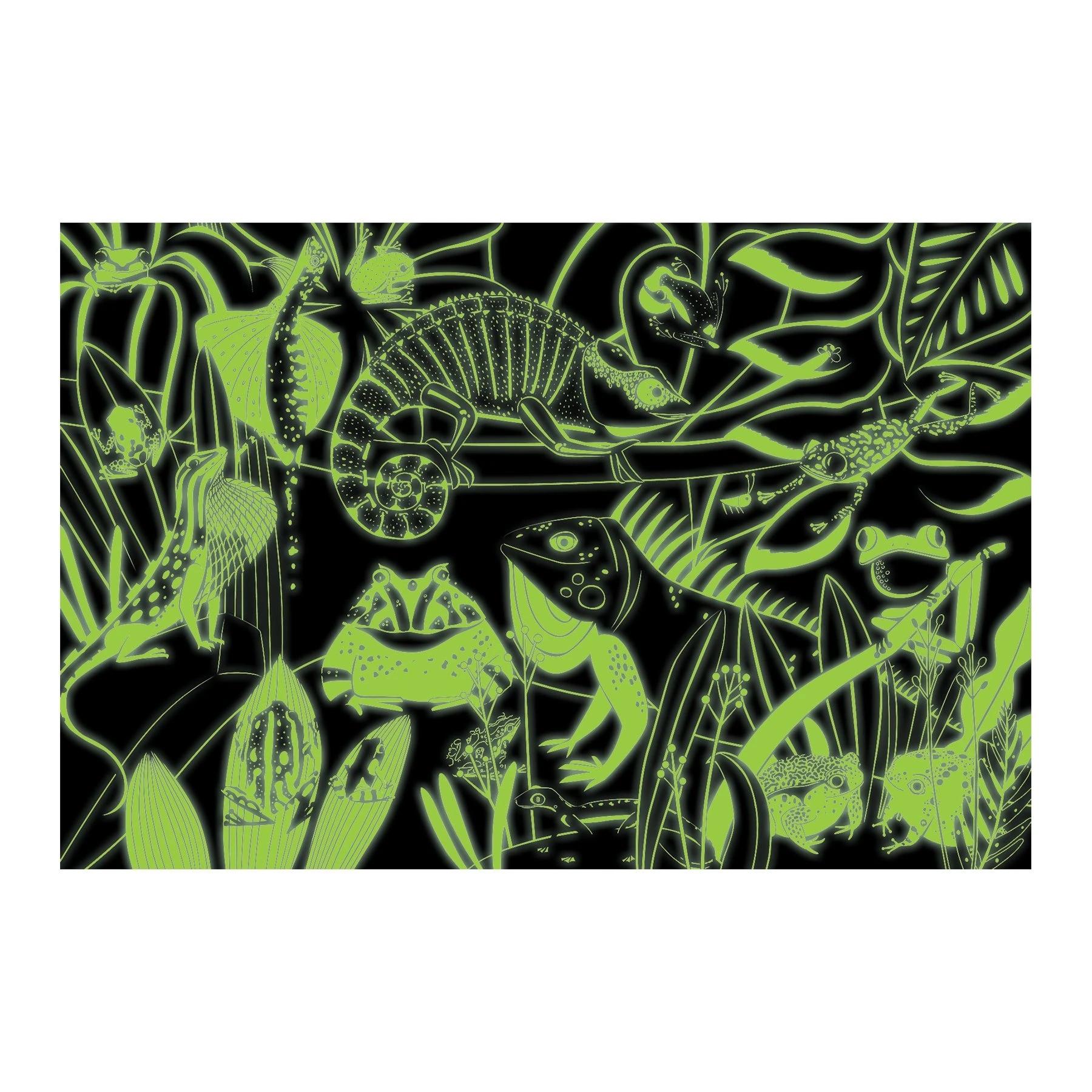 Mudpuppy, Puzzle świecące w ciemności 100: Żaby i jaszczurki (MP63694)