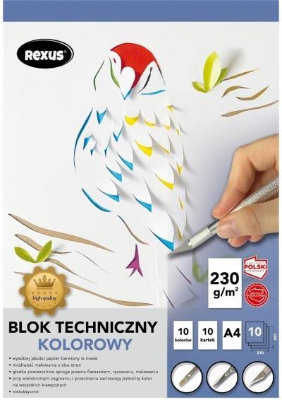 Blok techniczny A4/10K kolorowy barwiony