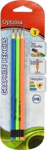 Ołówek z gumką HB blister 3szt