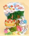 Karnet składany 3D - W dniu urodzin. Torcik