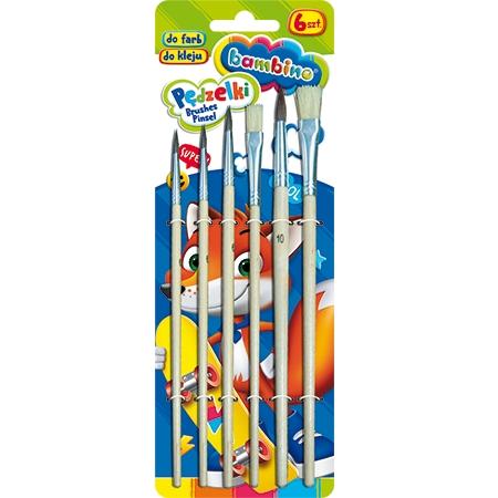 Pędzelki do farb i kleju Bambino, 6 sztuk