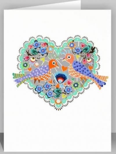 Karnet PM569 wycinany + koperta Ślub Ptaszki