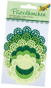 Koronka filcowa okrągła mix  zielony(F0 52291-95)