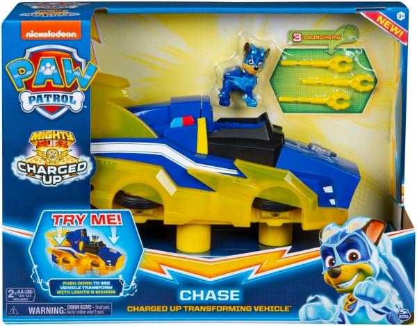 Psi Patrol Mighty Pups: Charged Up - Pojazd transformujący z światłem i dźwiękiem Chase (6055932). Wiek: 3+