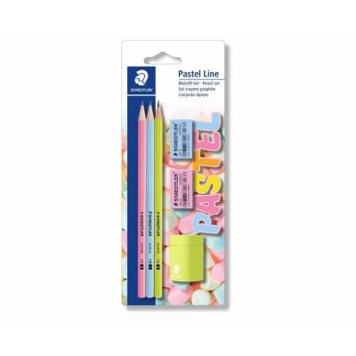 Ołówek HB Pastel 3 szt +gumki+temperówka STAEDTLER