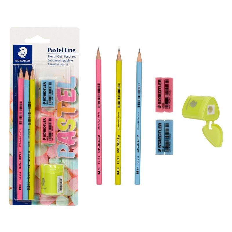 Ołówek HB Pastel 3 szt. + gumki, temperówka (S 130 43 SBKP1)