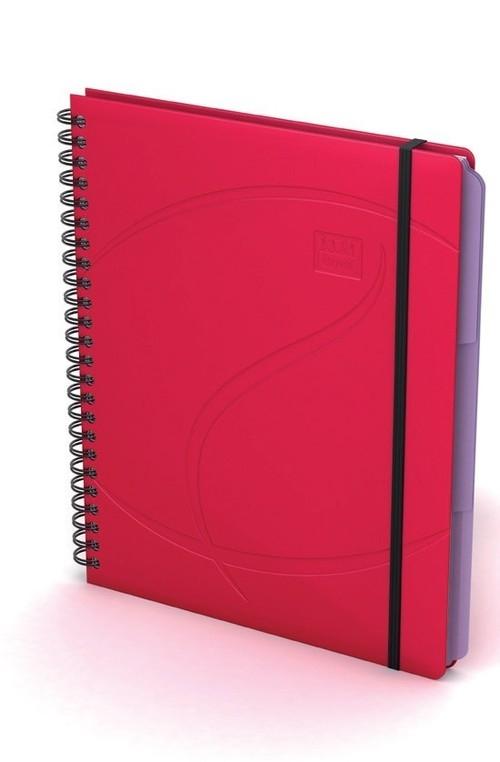 Kołonotatnik Oxford A5 80 kartek w kratkę Beauty Organiser czerwony