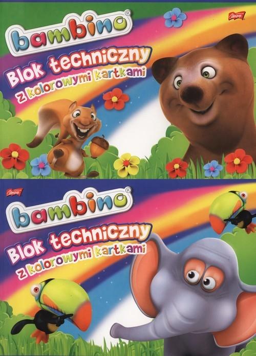 Blok techniczny A4 Bambino z kolorowymi kartkami 10 kartek 10 szuk mix