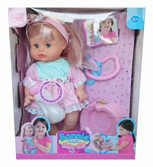 Lalka bobas Bonnie 30cm z akcesoriami różowa sukienka
