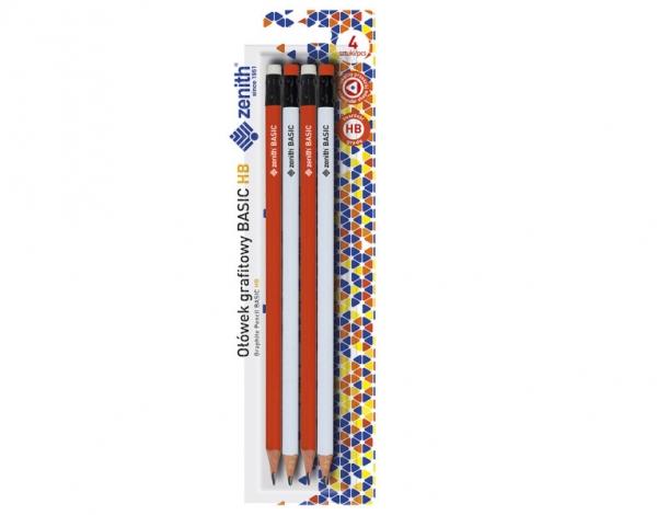 Ołówek Zenith Basic trójkątny z gumką HB - 4 sztuki (206315004)