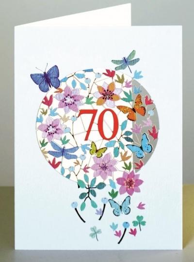 Karnet F70 wycinany + koperta Urodziny 70