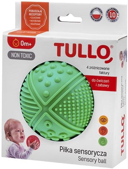 Tullo, Piłka sensoryczna, 4 faktury, zielona (470)