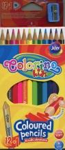 Kredki ołówkowe Colorino trójkątne 12 kolorów + temperówka (54706PTR)