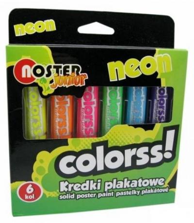 Kredki plakatowe Noster neon 6 kolorów