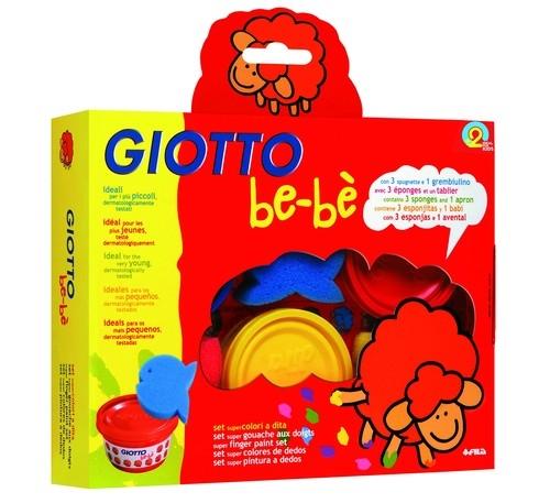 Farby do malowania palcami Giotto BeBe 3x100ml + gąbki stempelki
