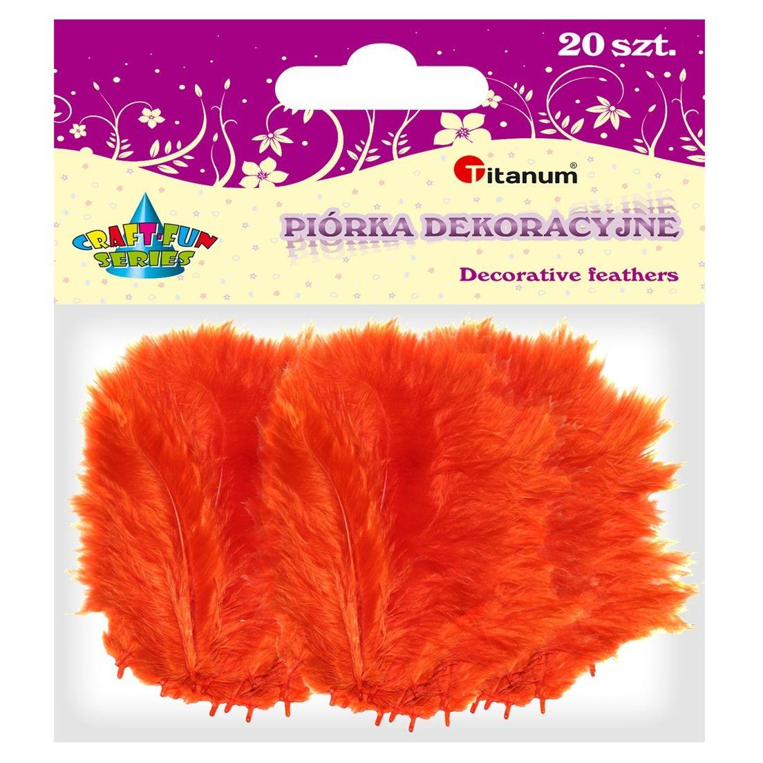 Piórka dekoracyjne, 20 szt. - pomarańczowe (283017)