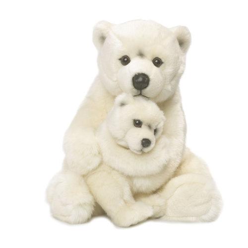 Miś polarny mama z dzieckiem 28 cm