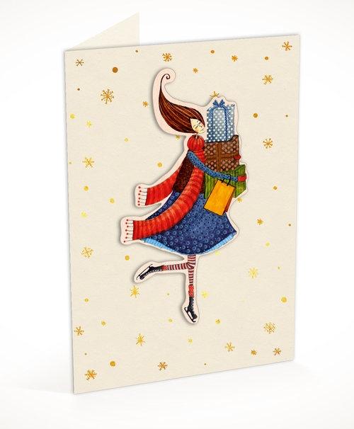 Karnet C6 naklejany + koperta Święta Kobieta z prezentami
