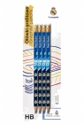Ołówki grafitowe trójkątne z gumką HB 4 szt. - Real Madrid (206018001)
