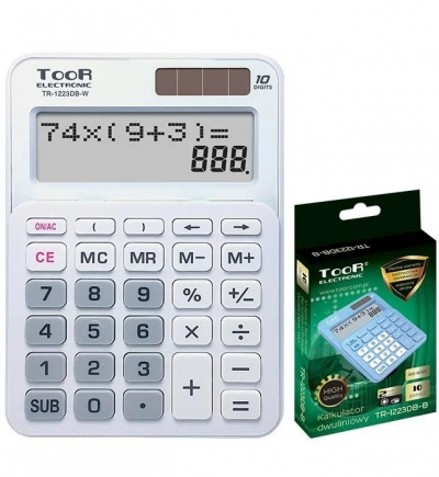 Kalkulator dwuliniowy 10-pozyc. TR-1223DB-W TOOR
