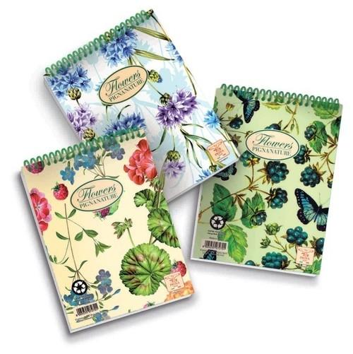 Notes spirala A6 Pigna Nature Flowers w kratkę 60 kartek mix wzorów