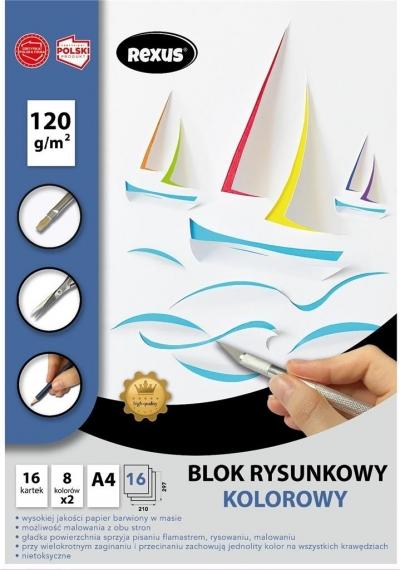 Blok rysunkowy A4/16K kolorowy barwiony
