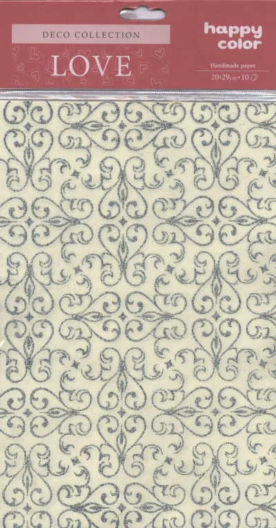 Papiery ozdobne Love arabeska - srebrny brokat 20x29 cm 10 arkuszy