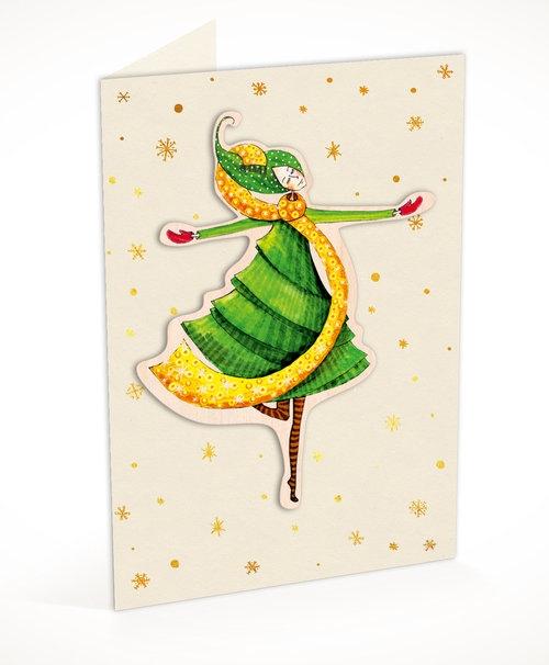 Karnet C6 naklejany + koperta Święta Tańcząca kobieta
