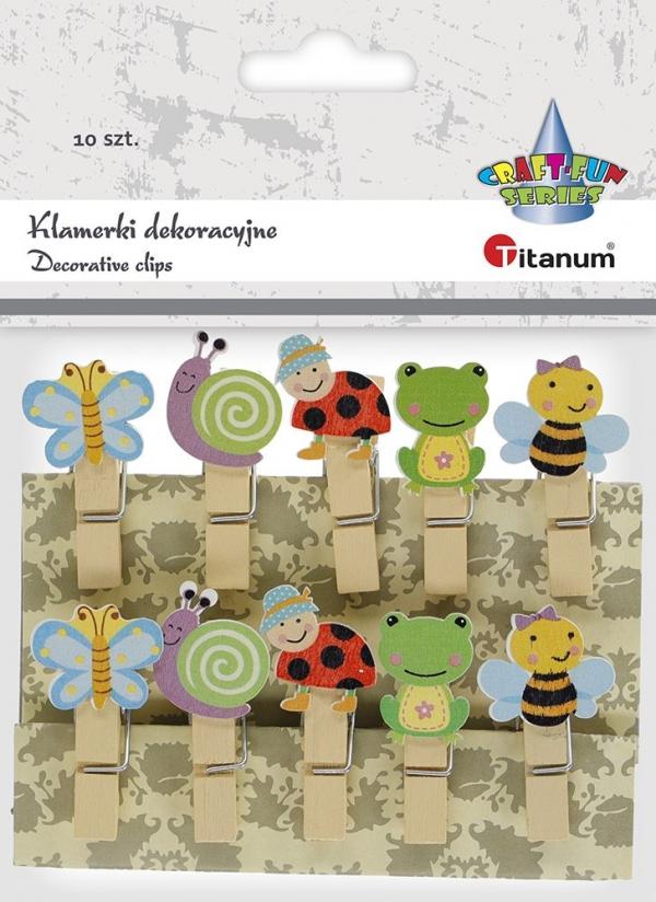 Ozdoba drewniana Titanum Craft-fun klamerki owady mix 10 szt