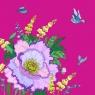 Karnet Swarovski kwadrat Kwiaty purpura