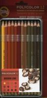 Kredki Polycolor 12 kolorów Linia brązowa