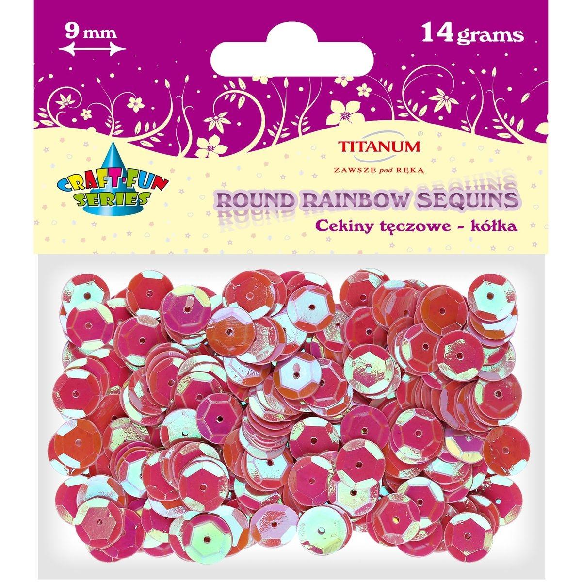 Cekiny okrągłe 9mm 14g - tęczowe różowe (260082)