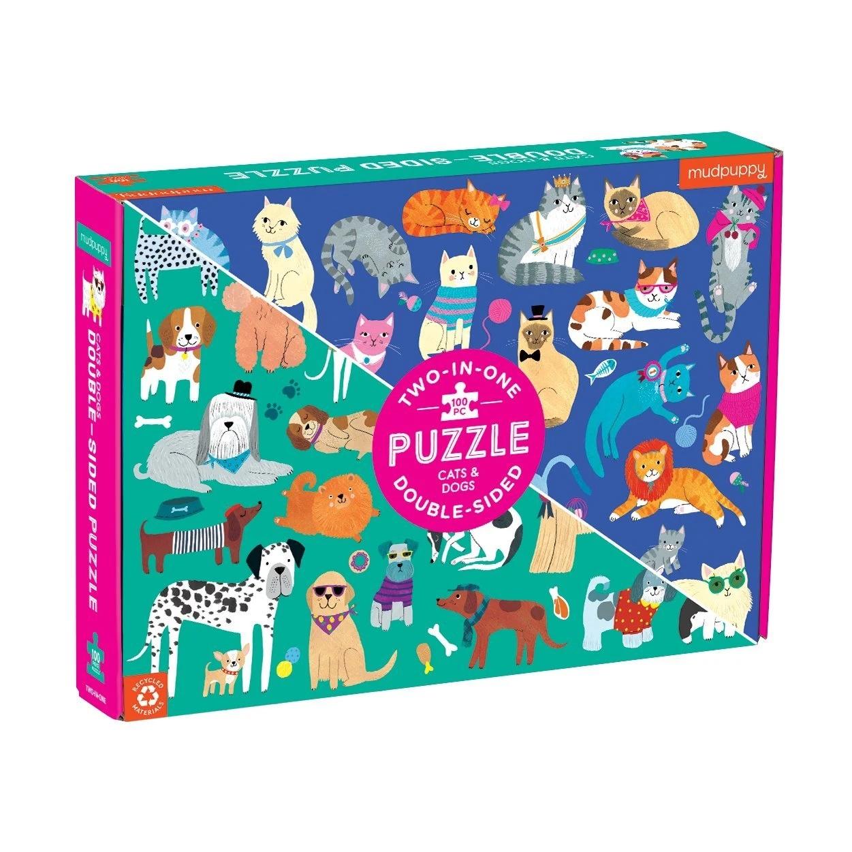 Mudpuppy, Puzzle dwustronne 100: Koty i psy (MP60730)