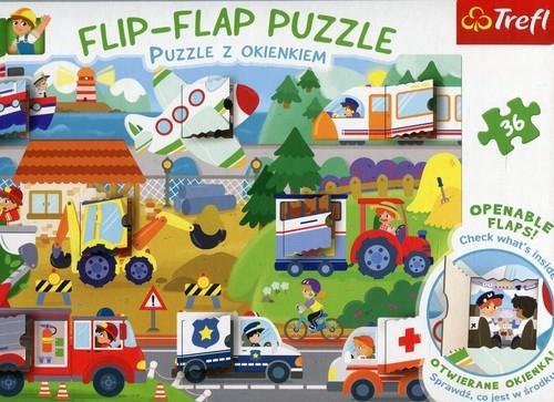 Flip-Flap Puzzle z okienkiem 36 Pojazdy