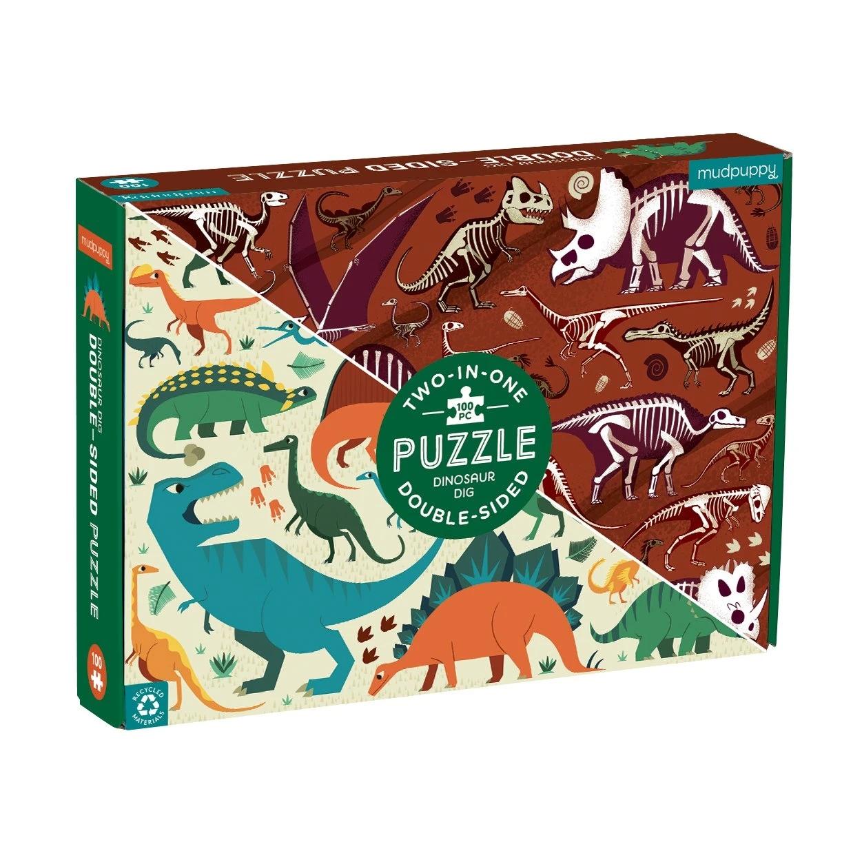 Mudpuppy, puzzle dwustronne 100: Dinozaury (MP63731)