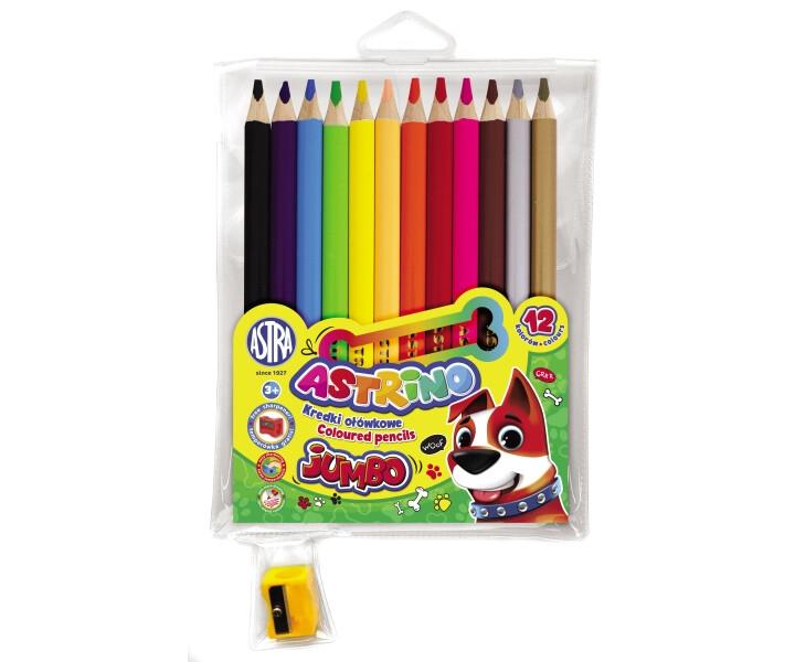 Kredki ołówkowe Astrino Jumbo, 12 kolorów + temperówka (312221001)