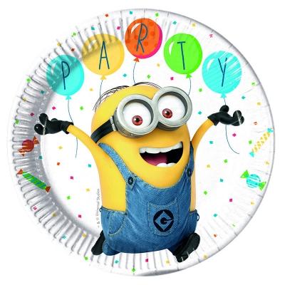 Talerzyki papierowe Minions Balloons Party 23cm,8szt .