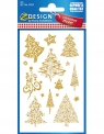 Naklejki bożonarodzeniowe - Złote choinki (52273)