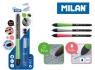 Długopis MILAN STYLUS niebieski + 2 włady + 2 gumki zapasowe na blistrze