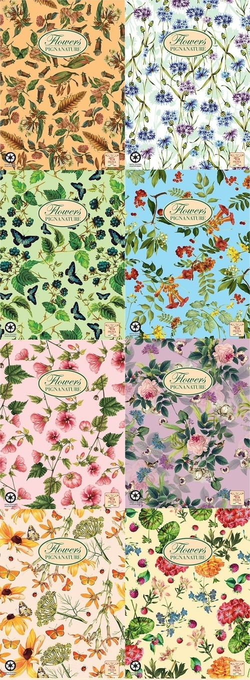Kołobrulion A4 Pigna Nature Flowers w linie 60 kartek mix wzorów