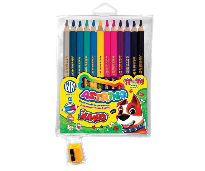 Kredki ołówkowe Astrino Jumbo dwustronne, 12/24 kolory + temperówka (312221003)