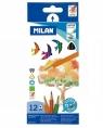 Kredki akwarelowe Milan 431 trójkątne, 12 kolorów w kartonowym opakowaniu (0742312)