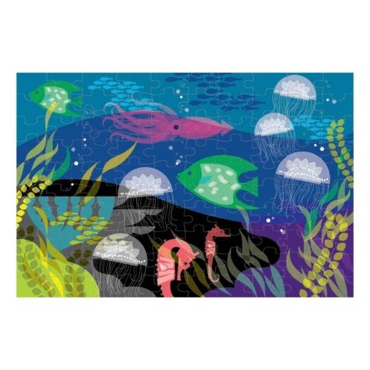 Mudpuppy, Puzzle świecące w ciemności 100: Pod wodą (MP45744)