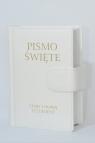 Pismo Święte Stary i Nowy Testament B5 białe skóropodobne z zapięciem na magnes