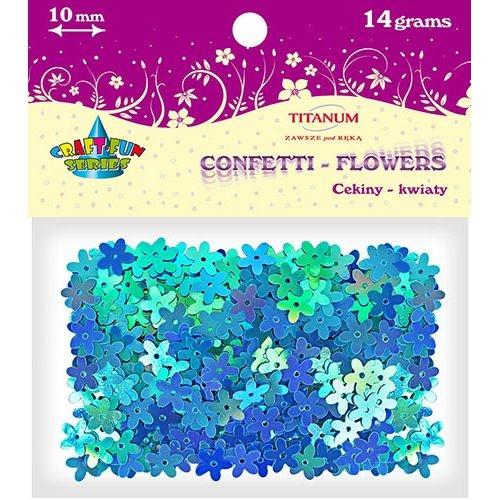 Cekiny kwiaty 10 mm 14g - tęczowy niebieski (242738)
