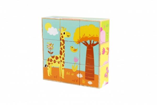 Klocki drewniane Zwierzątka dzikie kolorowe (11012)