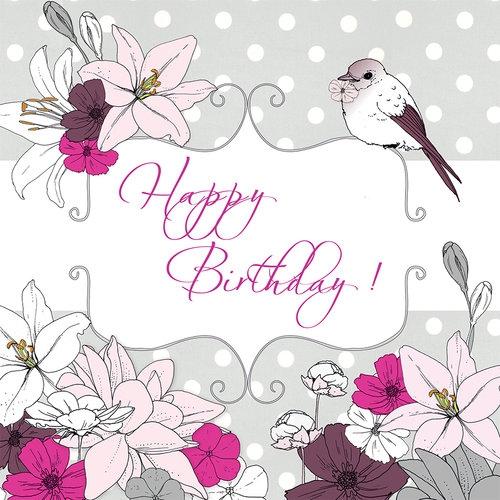 Karnet Swarovski kwadrat Urodziny kwiaty i ptaszek