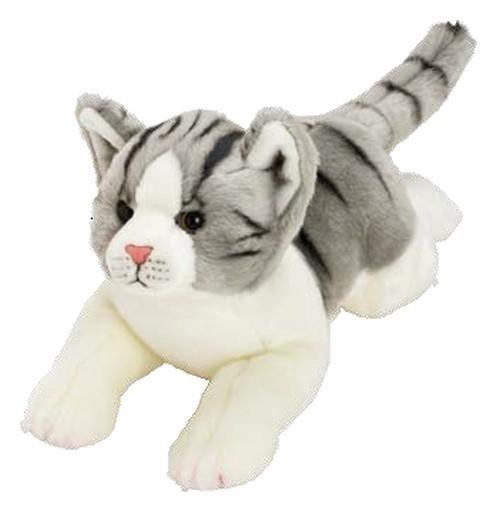 Suki, Kot Szaro-Biały Pręgowany leżący 35 cm (12074)